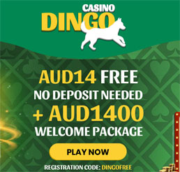 At Dingo AU players can play mobile Pokies with AU $14 free no deposit offer